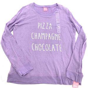 Foodie Pizza Champagne Chocolate Pajama Top Large